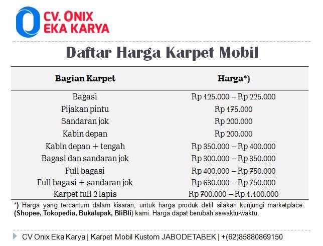daftar harga karpet mobil CV Onix eka karya
